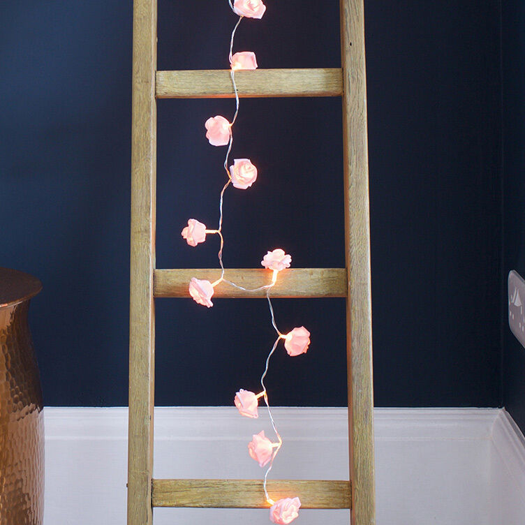 20 pink rose flower battery operated warm white led