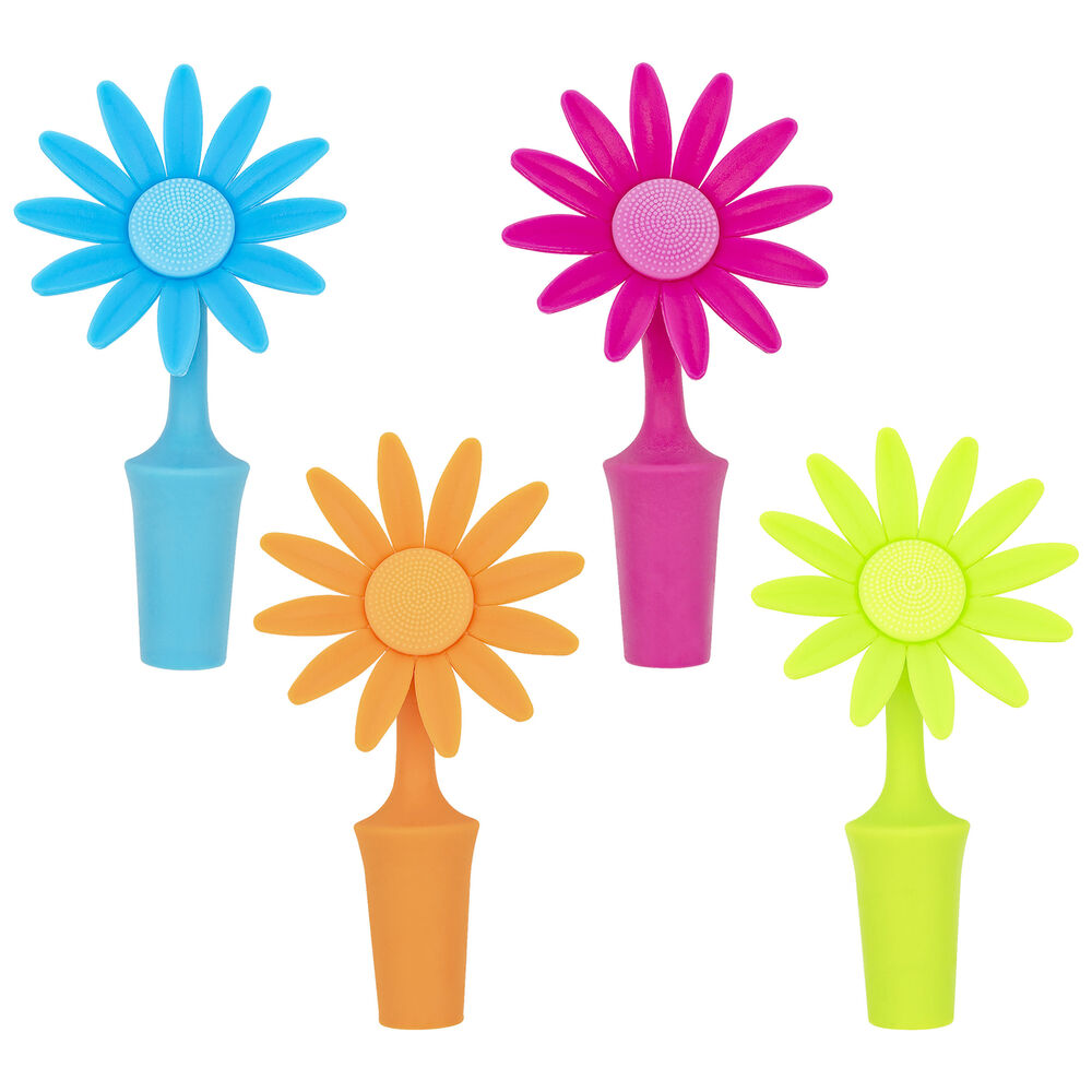 Flower bottle stoppers 4 pack wine beer soda silicone cork