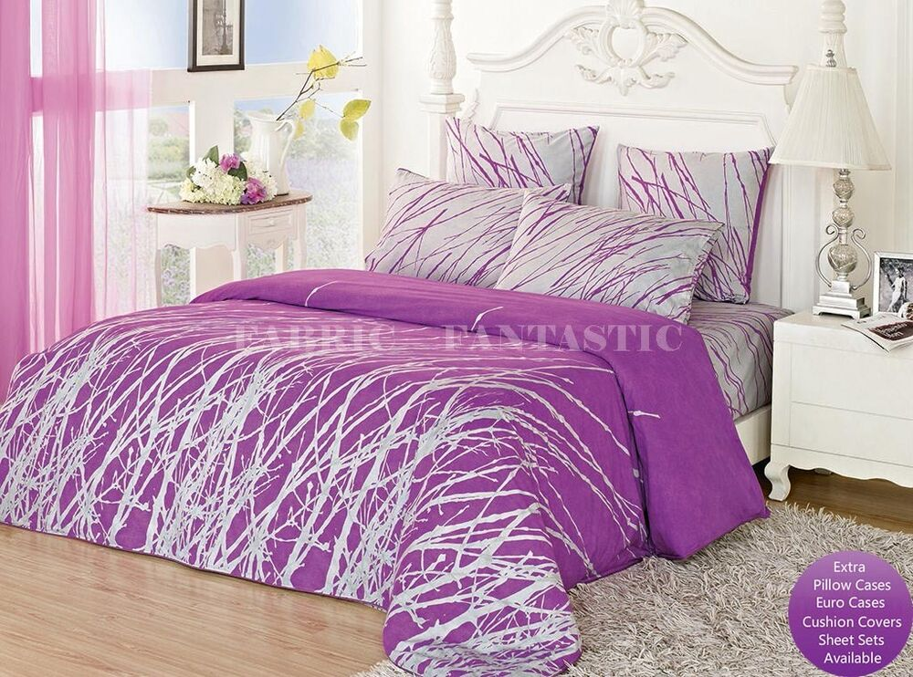 purple tree queen king size bed quilt doona duvet cover sheet set cotton new ebay. Black Bedroom Furniture Sets. Home Design Ideas