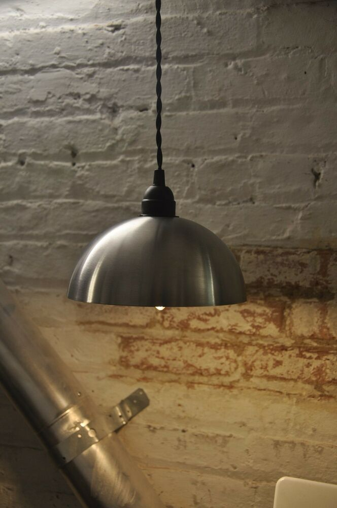 New industrial modern look pendant light fixture lamp stainless steel canopy ebay - Stainless steel kitchen pendant light ...