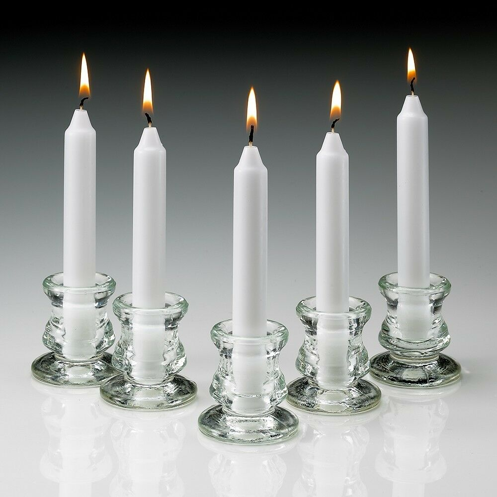 Set Of 80 White Taper Candles 6 Inch Burn 5 Hours