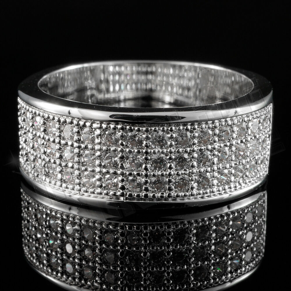 18k White Gold Iced Out Band Hiphop Engagement Micropave