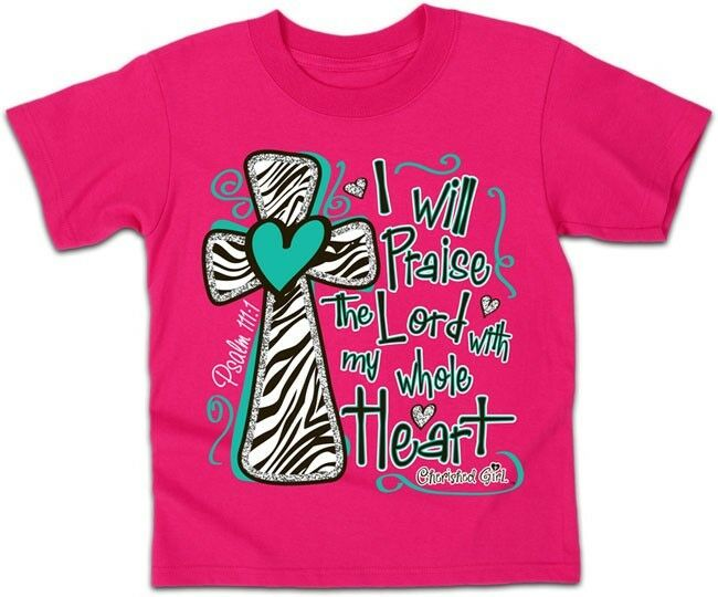 girls christian tshirt pink i will praise the lord with