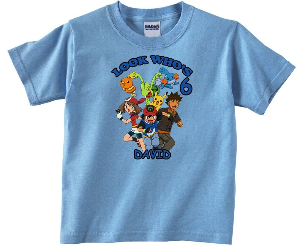 Pokemon personalized custom birthday shirt in 8 different for Custom personal trainer shirts
