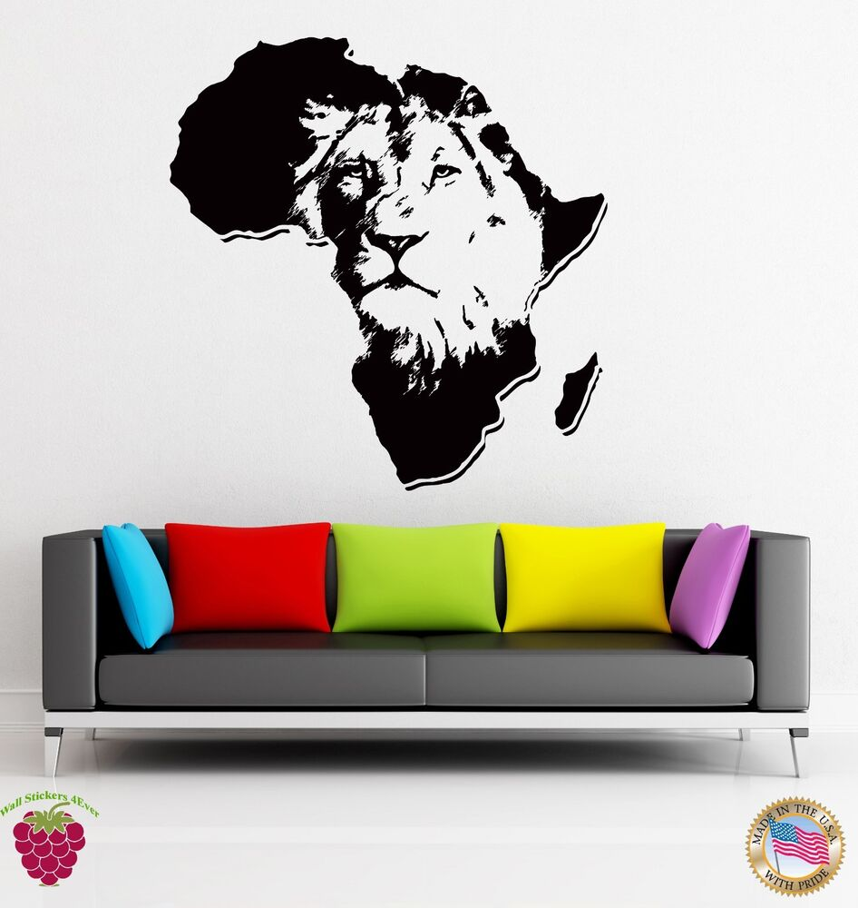 living room decals wall stickers vinyl animal africa predator decor for 10312