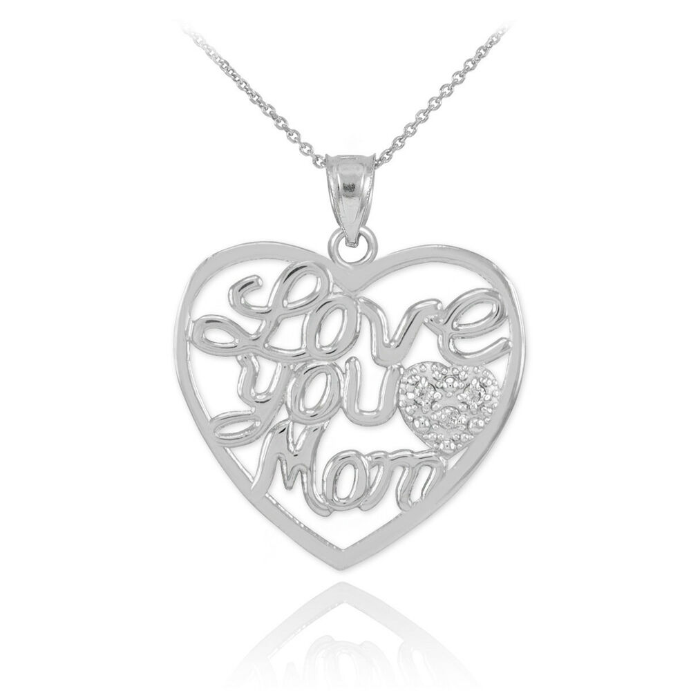 Mother's Day Gifts 14K White Gold Diamond Pave Heart ...