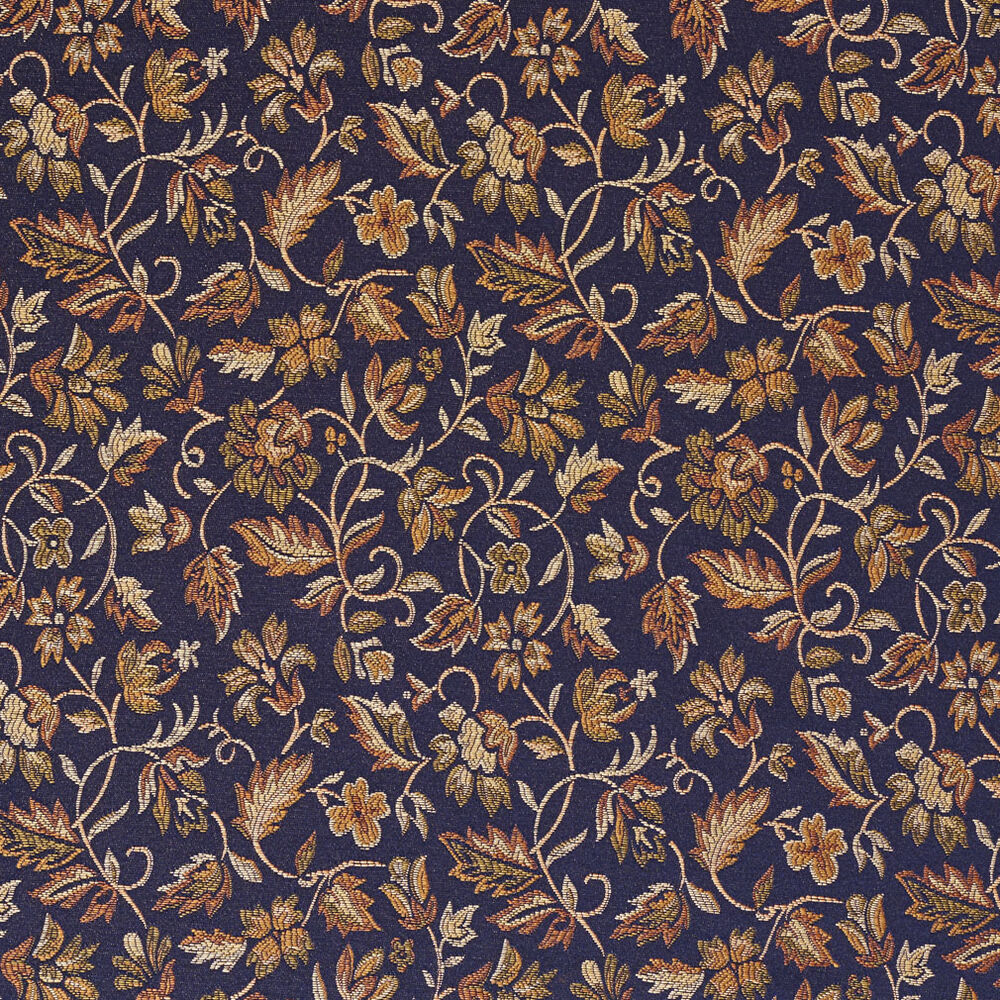 e616 floral navy blue yellow green damask upholstery drapery fabric by the yard ebay. Black Bedroom Furniture Sets. Home Design Ideas