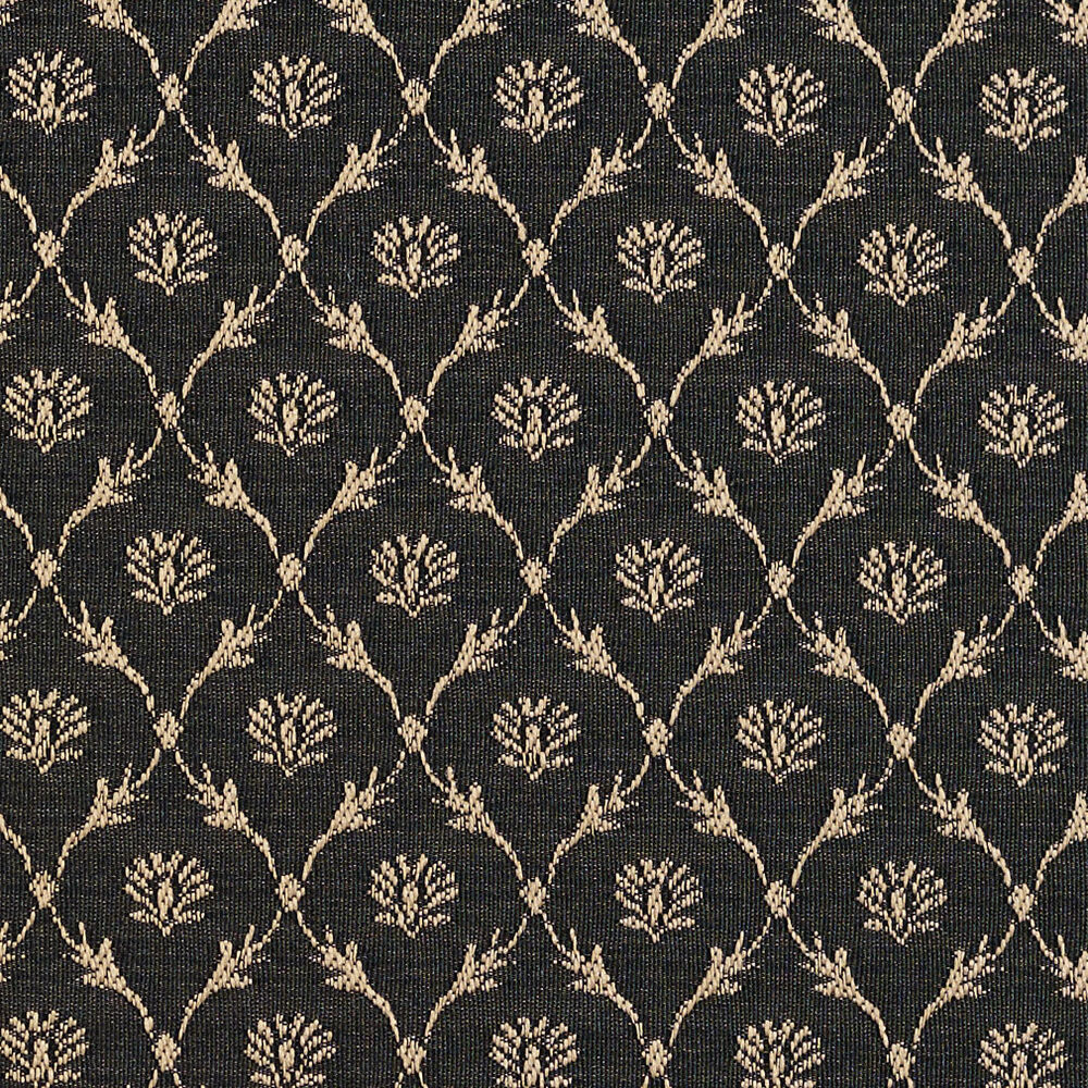 B642 black floral trellis woven jacquard upholstery for Floral upholstery fabric