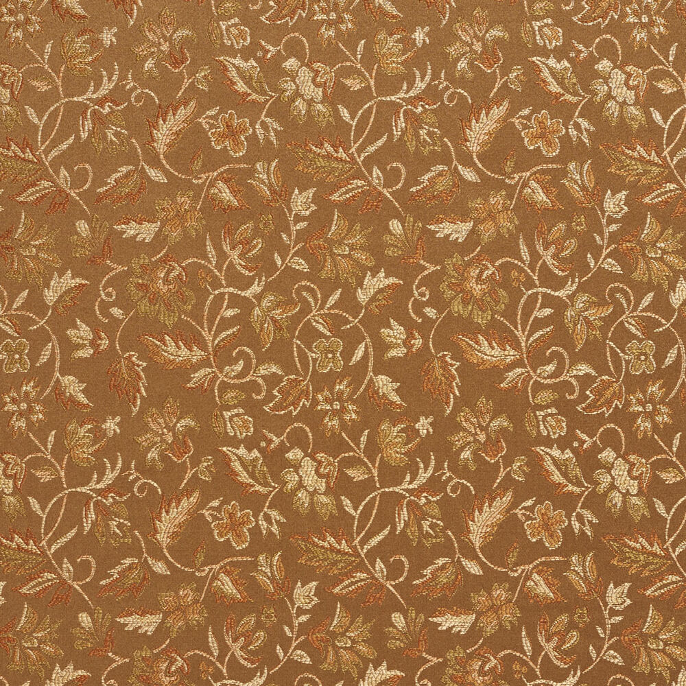 E617 floral green brown gold damask upholstery drapery for Upholstery fabric