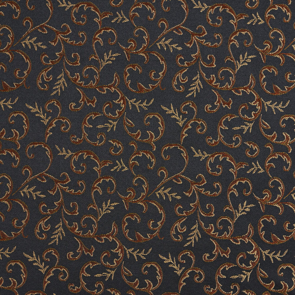 E644 floral black gold green orange damask upholstery for Black fabric
