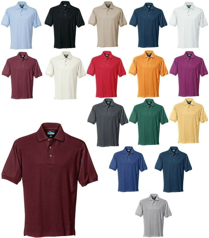 Men 39 s 3 button polo shirt mid weight side vents xs 5x for Mens 5x polo shirts