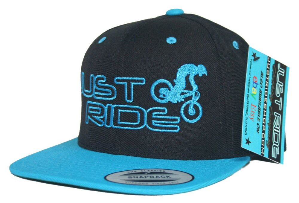 Just Ride Mountain Bike Hat Flat Bill Snap Back Mtb d6cbf67aacea
