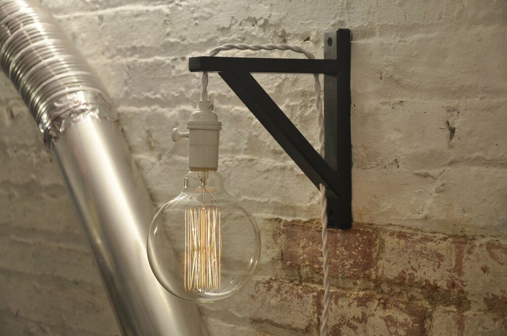 Wall Sconce White Over Brass Light Lamp Industrial Retro Vintage Solid Wood eBay