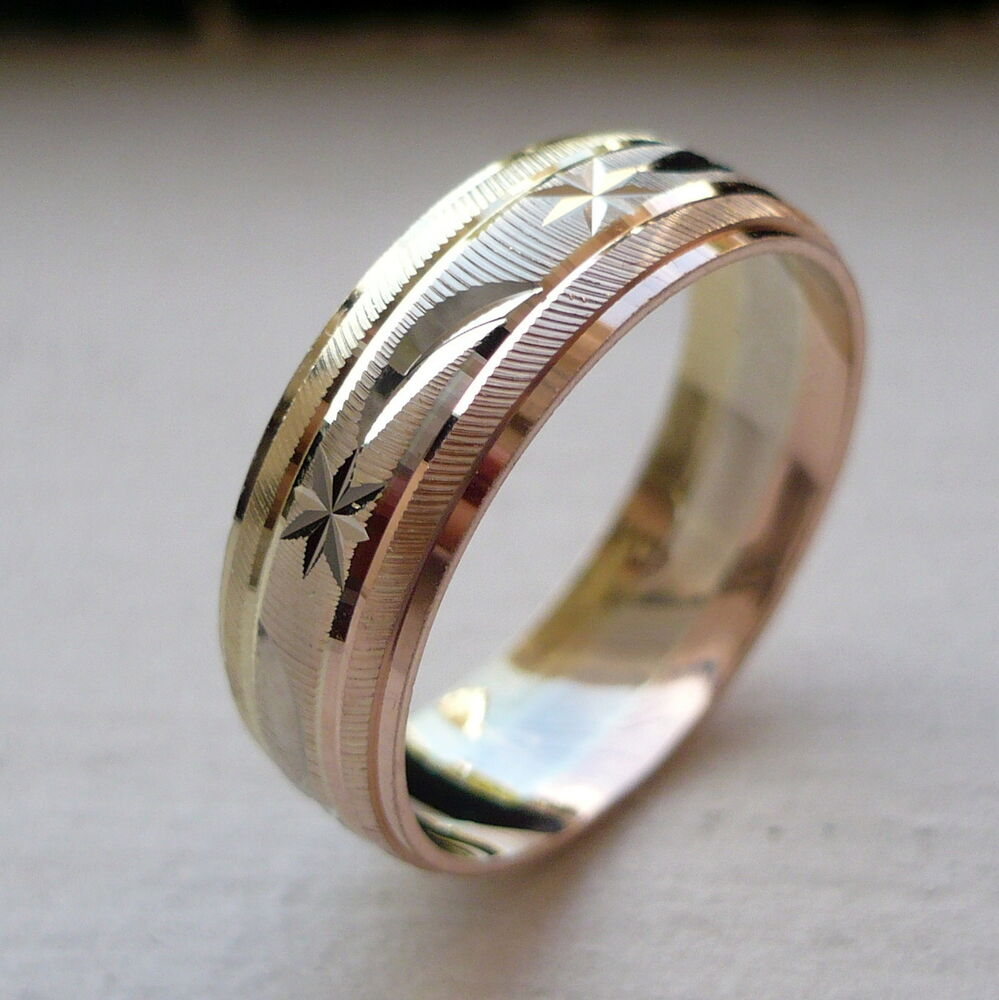10k Solid Tricolor Gold Men S Women S Wedding Band Ring