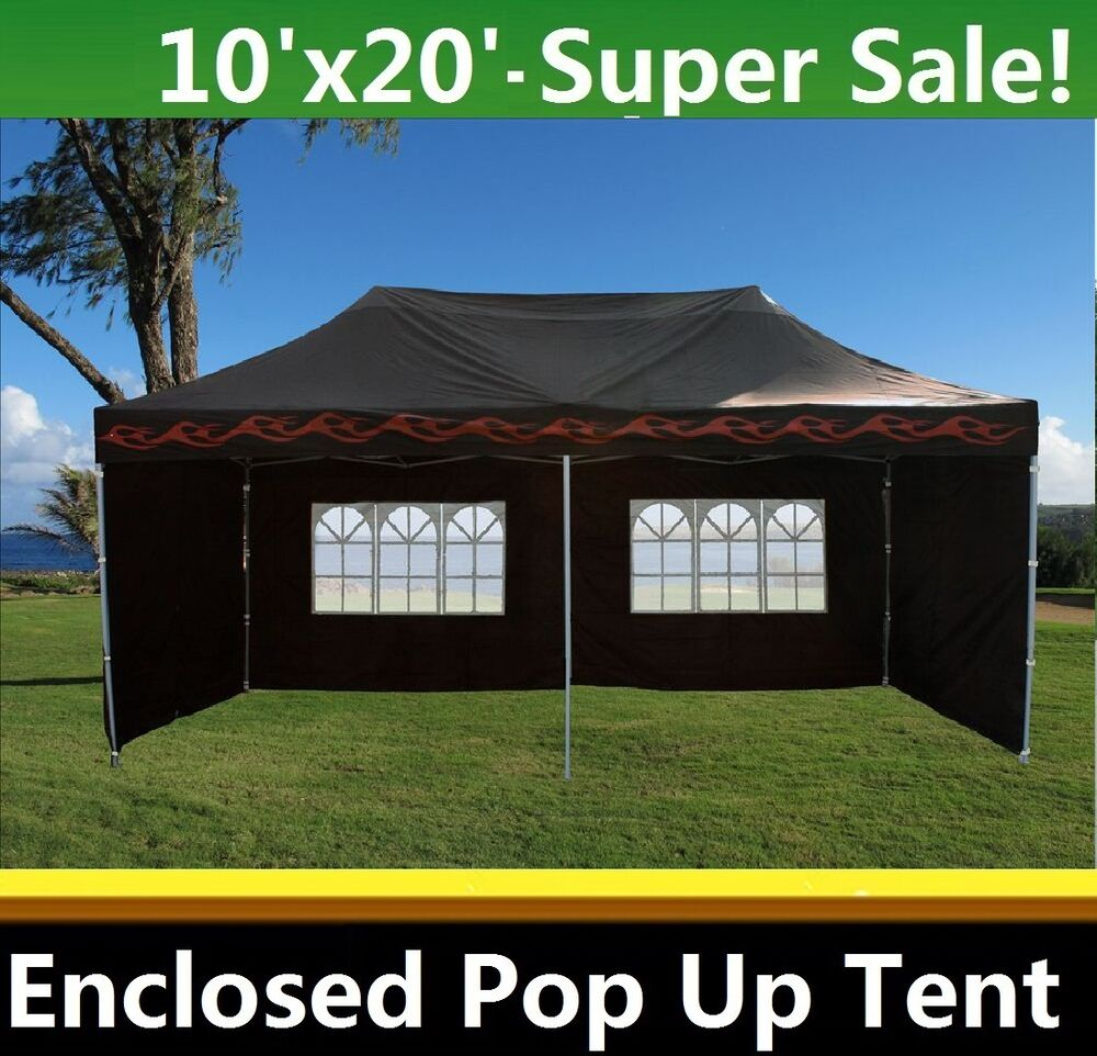 10 x20 enclosed pop up canopy party folding tent gazebo black flame