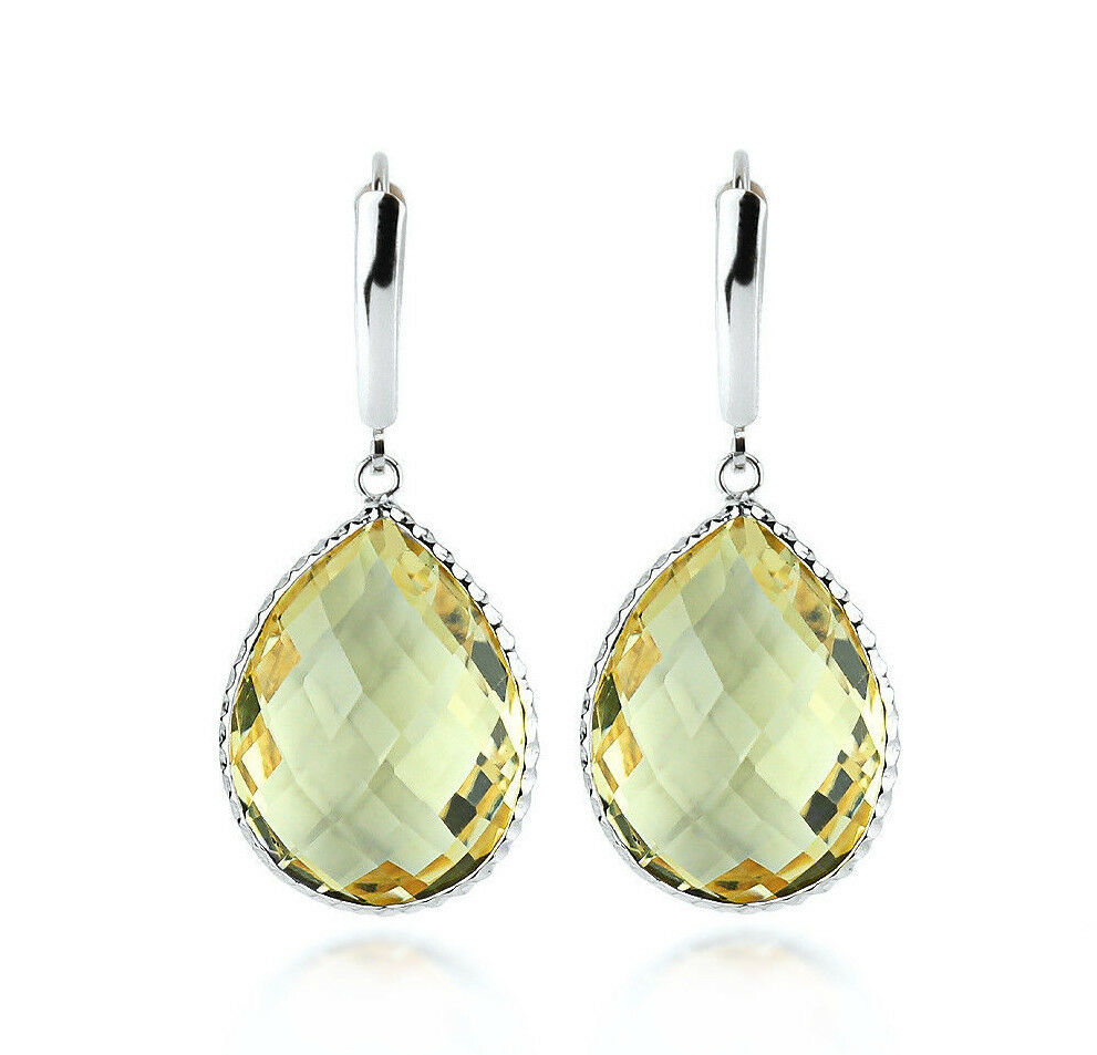 14k white gold gemstone earrings with large pear shaped. Black Bedroom Furniture Sets. Home Design Ideas