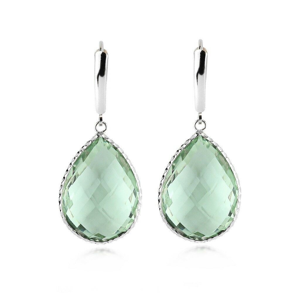 14k White Gold Gemstone Earrings With Large Pear Shaped