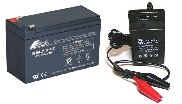 toy car battery and charger combo 12v 75ah battery 12 volt mains charger