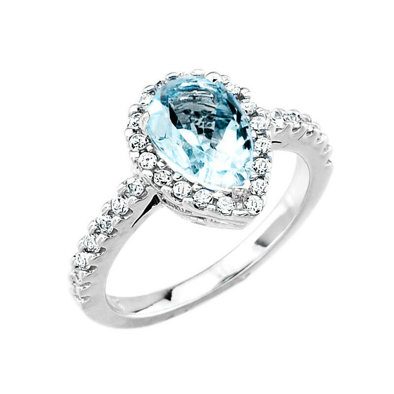 White gold aquamarine and diamond engagement ring ebay for Wedding rings aquamarine