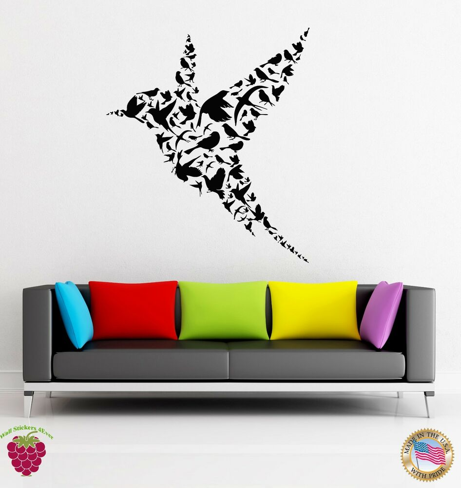 wall decals for bedroom wall stickers vinyl decal bird abstract modern 17734