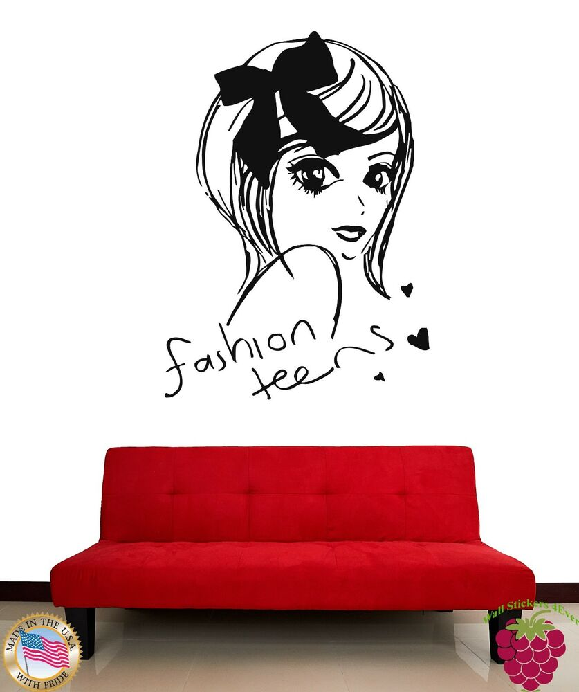wall stickers vinyl decal fashion teens cute girl decor for bedroom z1894 ebay. Black Bedroom Furniture Sets. Home Design Ideas