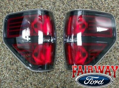 2009 thru 2014 Ford F-150 F150 SVT Raptor  Black Tail Lights Lamps (pair)