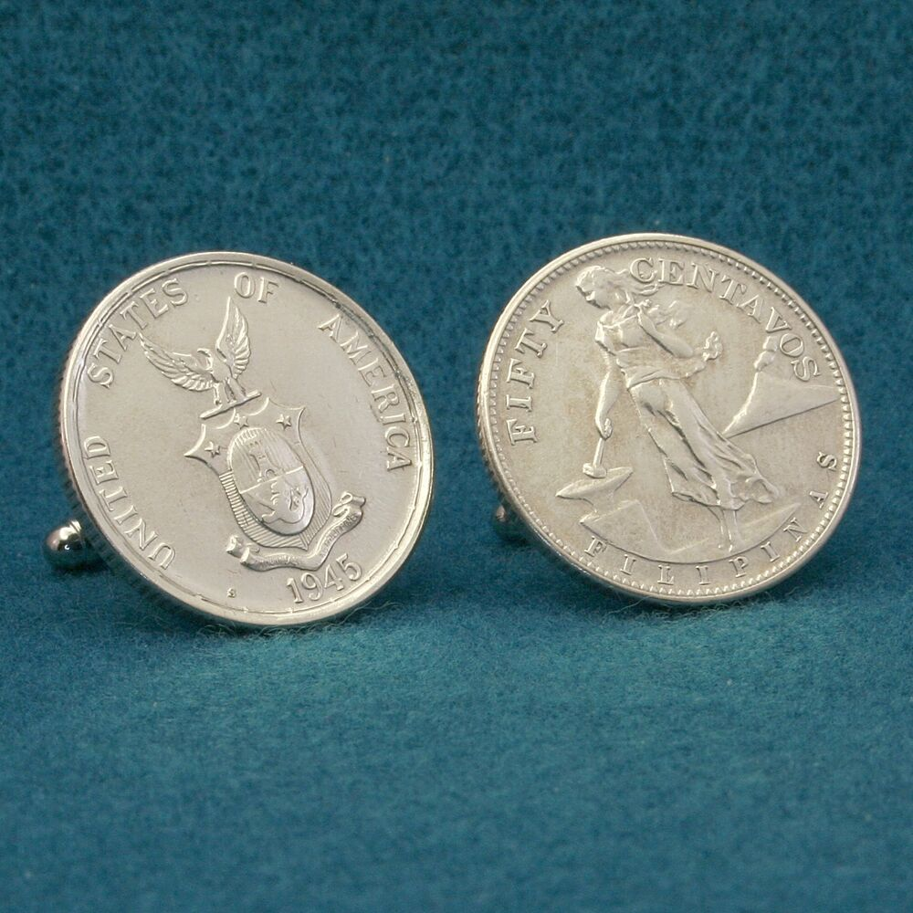 Coin Ph: American Philippines Volcano SILVER Coin Cufflinks, 50