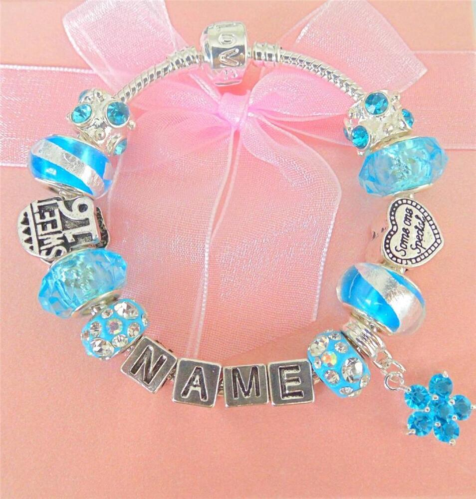 PERSONALISE GIRLS BIRTHDAY SWEET 16 CHARM BRACELET ANY ...