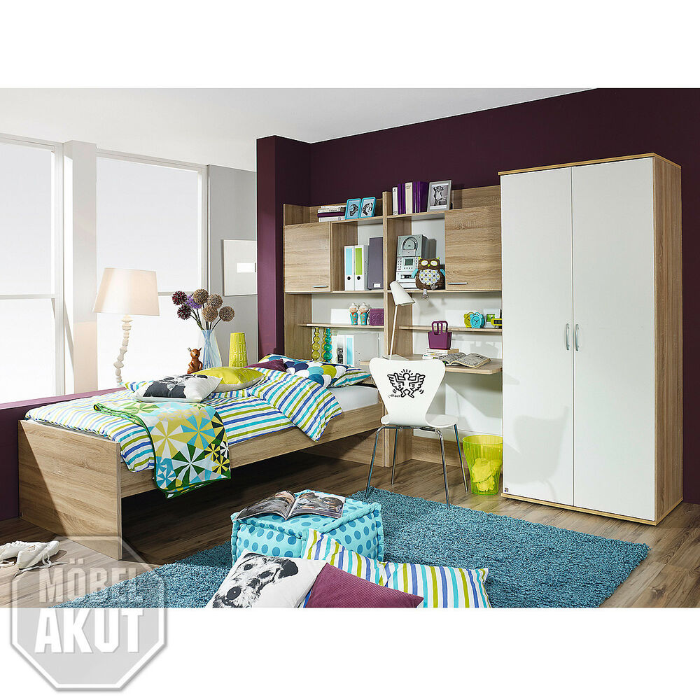jugendzimmer set 1 emilio kinderzimmer komplett in sonoma. Black Bedroom Furniture Sets. Home Design Ideas