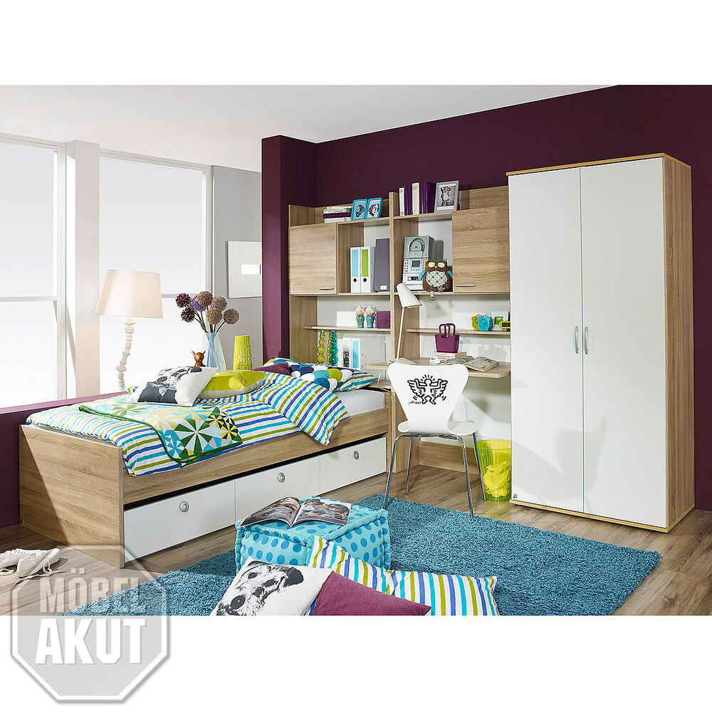 jugendzimmer set 2 emilio kinderzimmer komplett in sonoma eiche und wei 4 tlg ebay. Black Bedroom Furniture Sets. Home Design Ideas