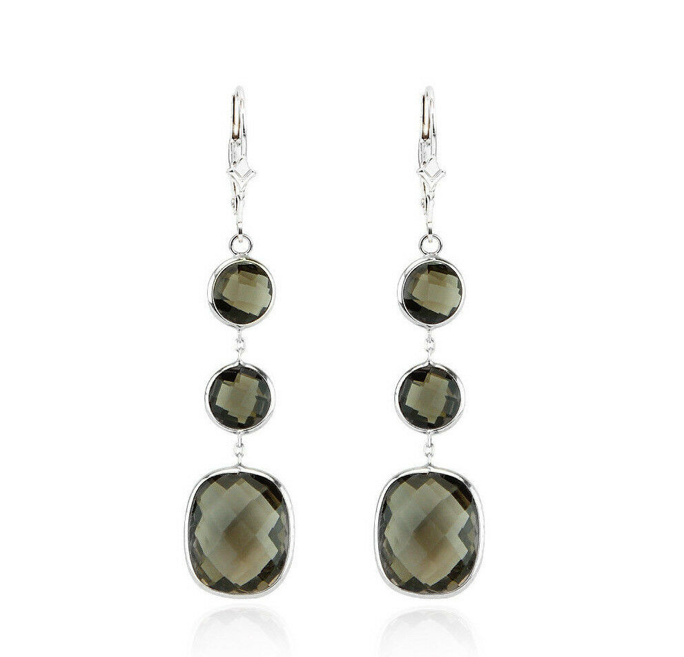14k white gold dangle earrings with smoky topaz ebay. Black Bedroom Furniture Sets. Home Design Ideas