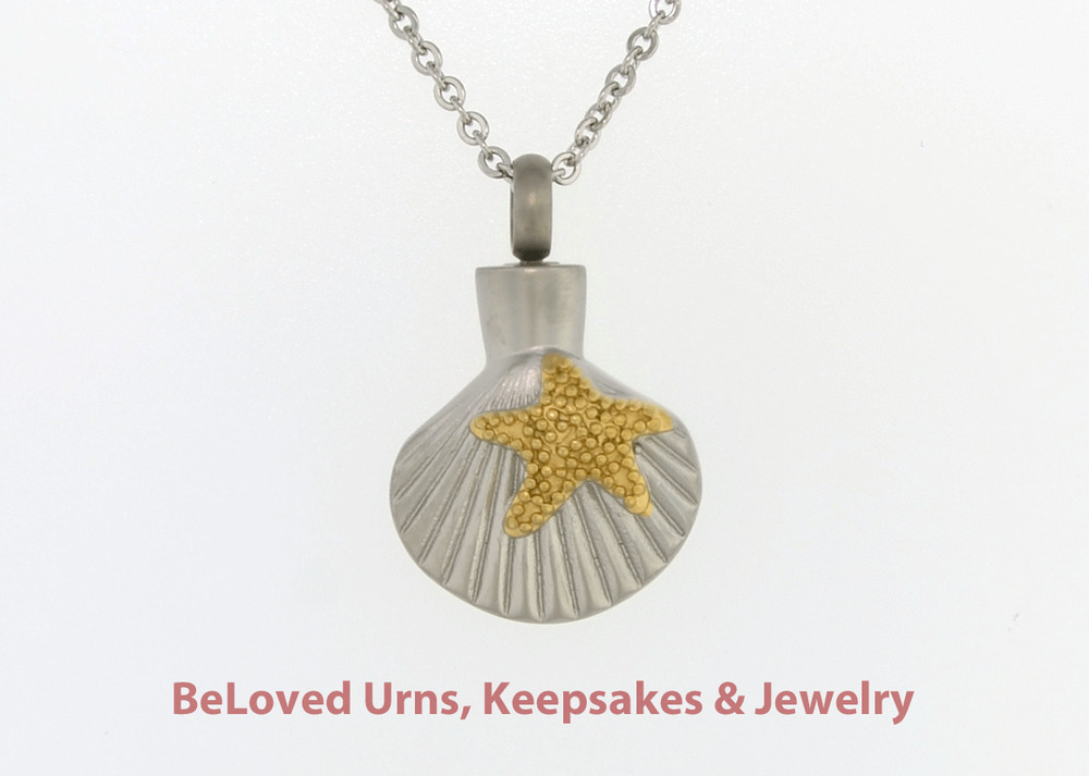 Starfish on seashell beach sand cremation jewelry for Fish cremation jewelry
