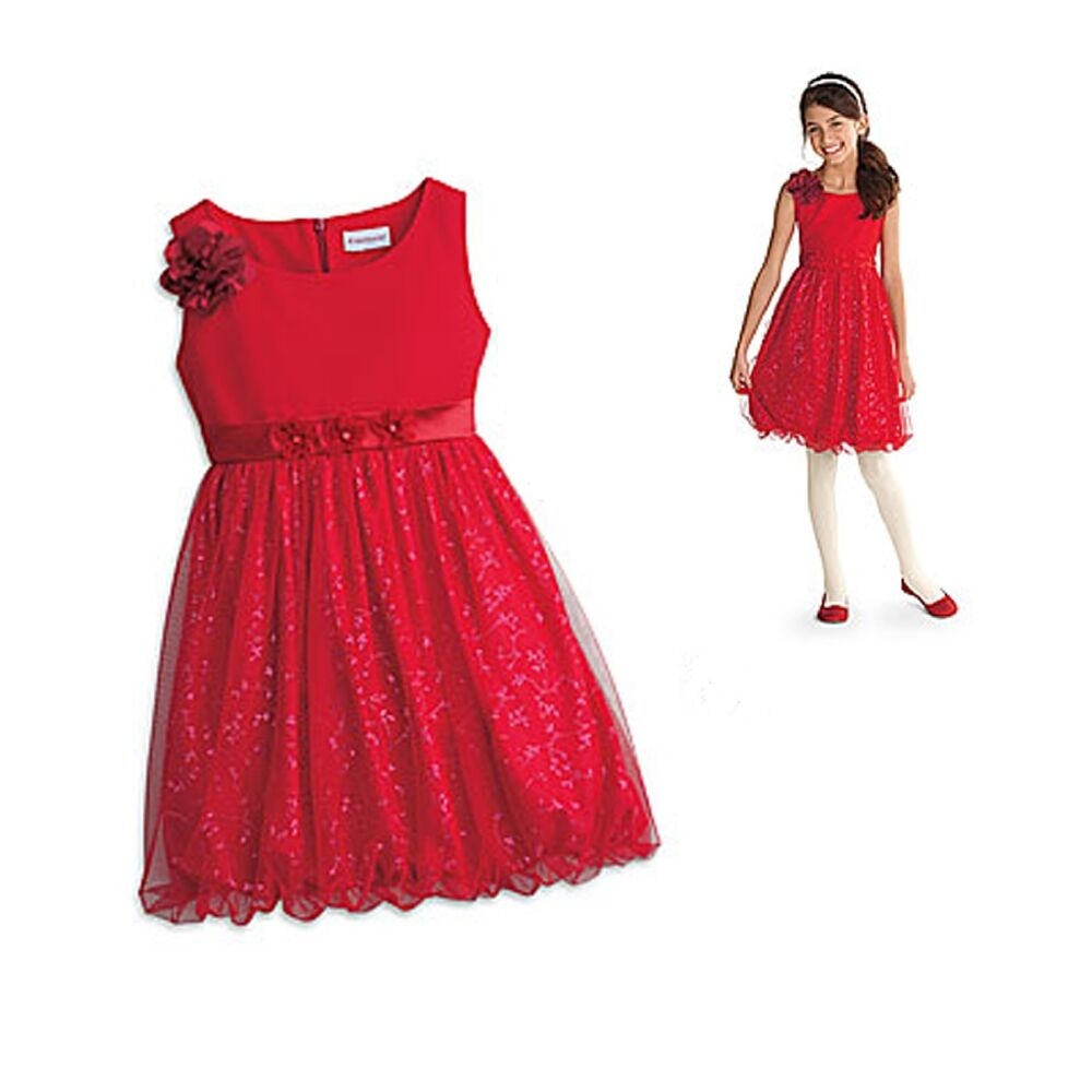 Girl cl my ag sparkle party dress size 14 red flower christmas
