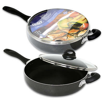oster clairborne aluminum non stick frying saute pan skillet with lid ebay. Black Bedroom Furniture Sets. Home Design Ideas