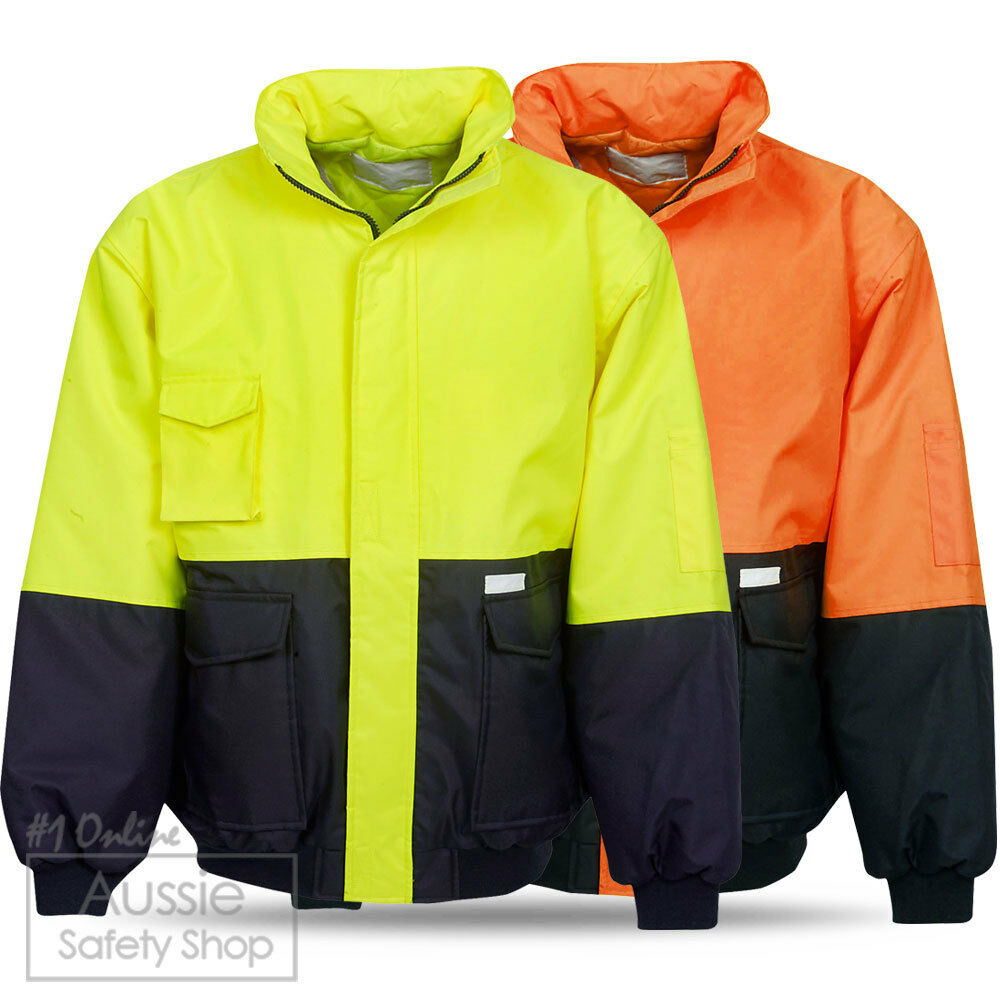Unisex Hi Vis Yellow Orange Artic Storm Bomber Jacket Warm