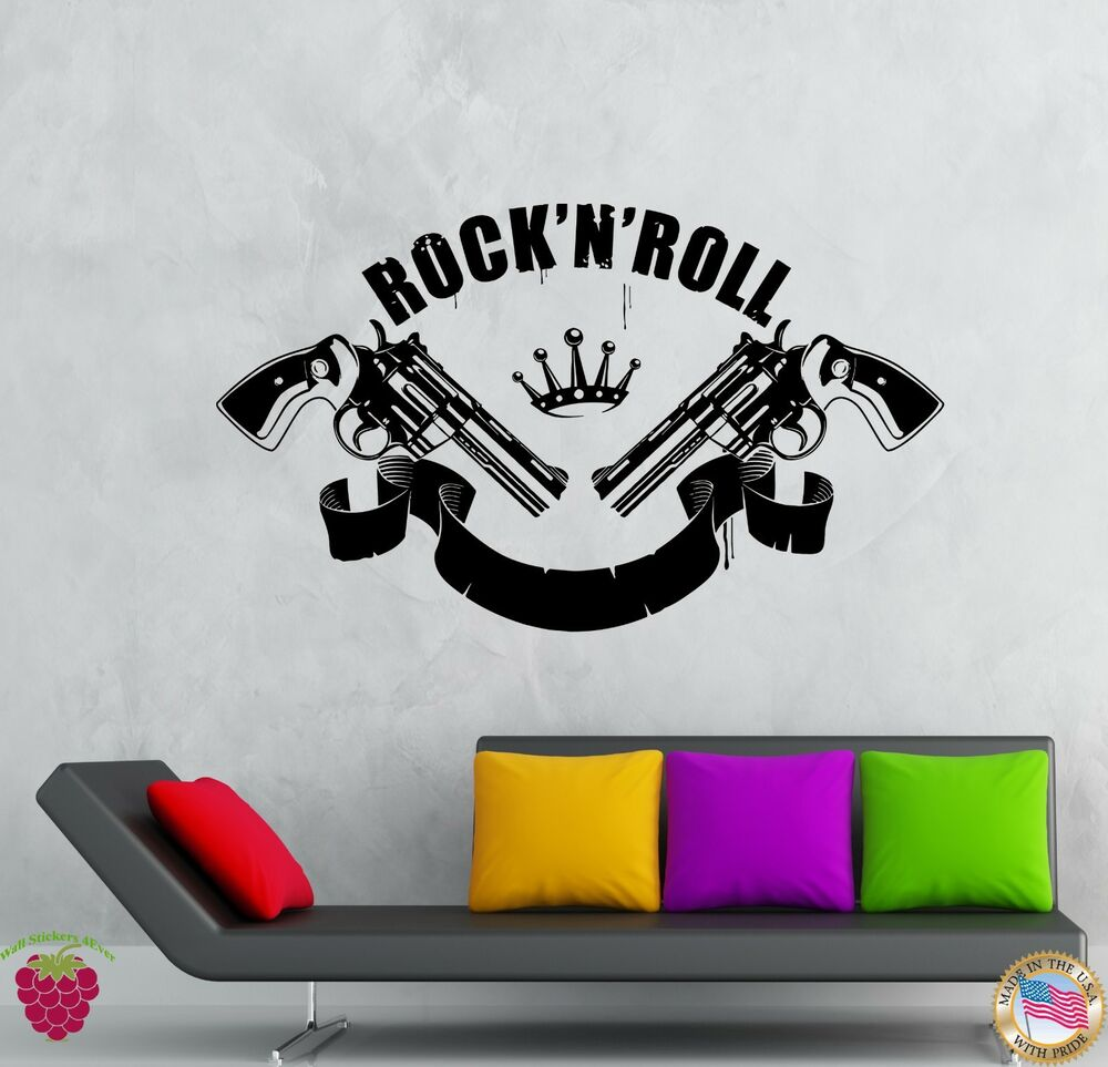 wall stickers vinyl decal rock n roll music guns revolvers rock decor z2142 ebay. Black Bedroom Furniture Sets. Home Design Ideas