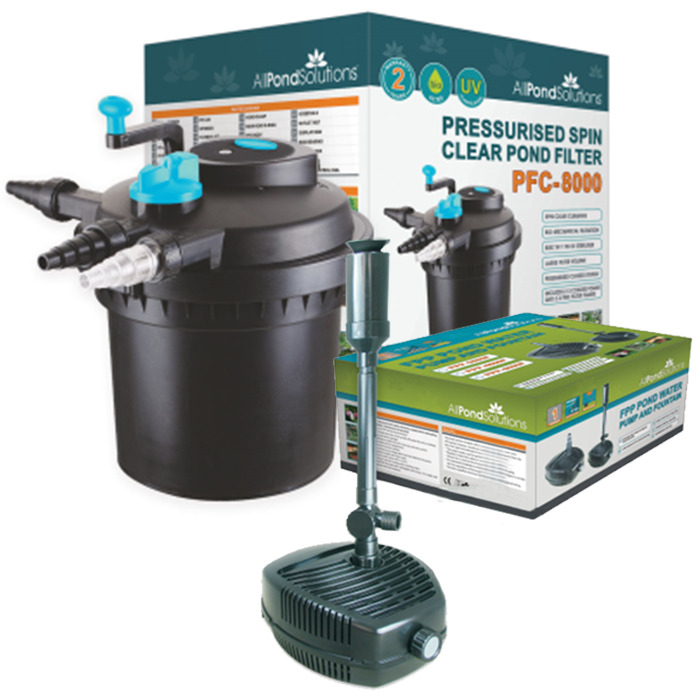 Pressurised complete pond filter all in one filter for Garden pond pump filters