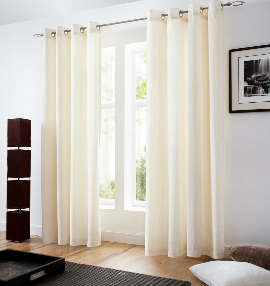 Velvet Lined Curtains Eyelet Top 5 Colours Cushions