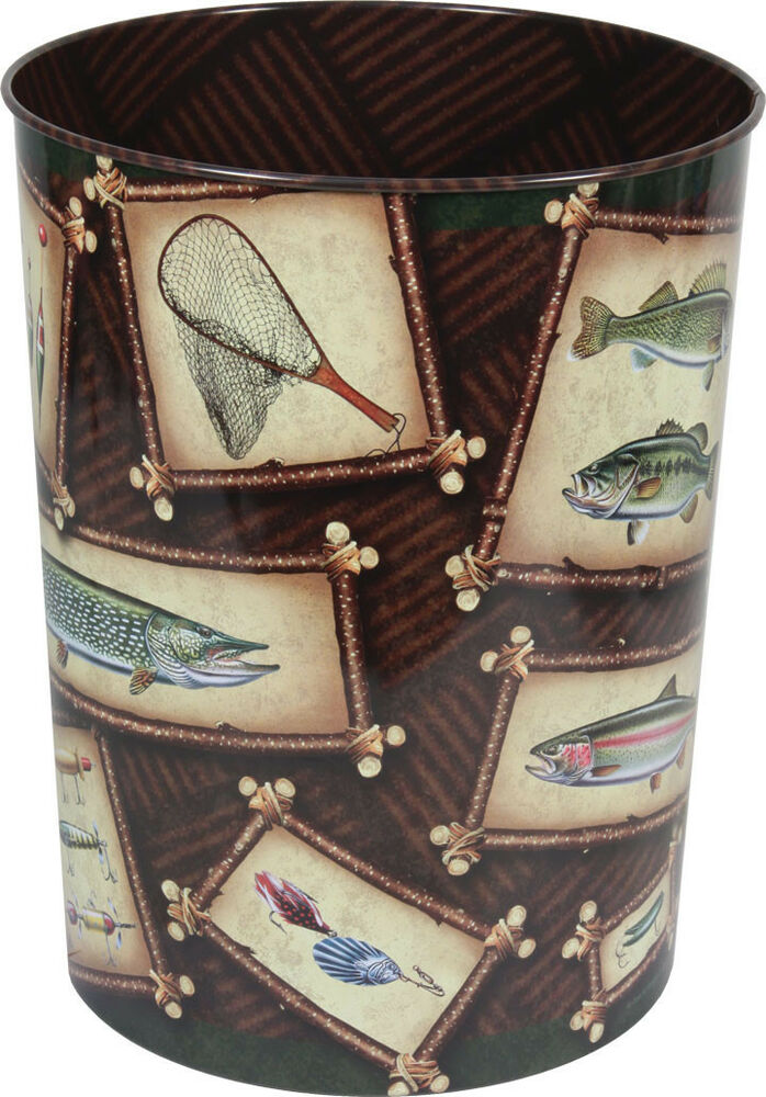 Decorative wastebasket fishing fish outdoor cabin lodge for Fisherman home decor