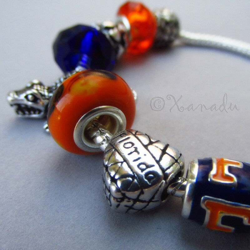 European Charm Bracelets: Florida Gators European Charm Bracelet W Blue Orange