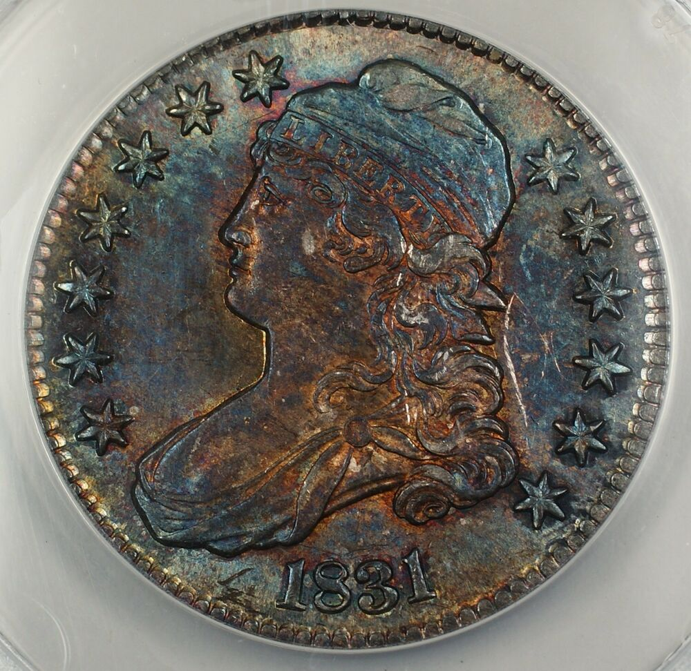 1831 Capped Bust Silver Half Anacs Au 58 Details Scratched