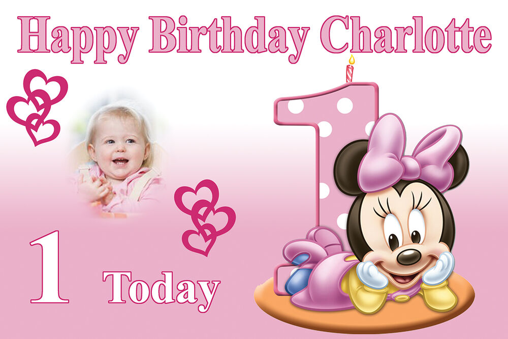 LARGE 1st BIRTHDAY POSTER BANNER PERSONALISED ANY TEXT & PHOTO ...