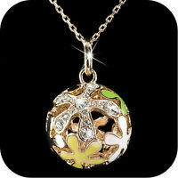 18k rose gold made with SWAROVSKI crystal ball hollow pendant necklace