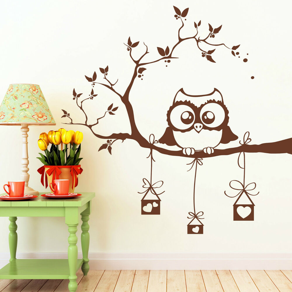 10383 wandtattoo eule auf ast mit vogelh uschen eulen herz owl vogel herzen owl ebay. Black Bedroom Furniture Sets. Home Design Ideas
