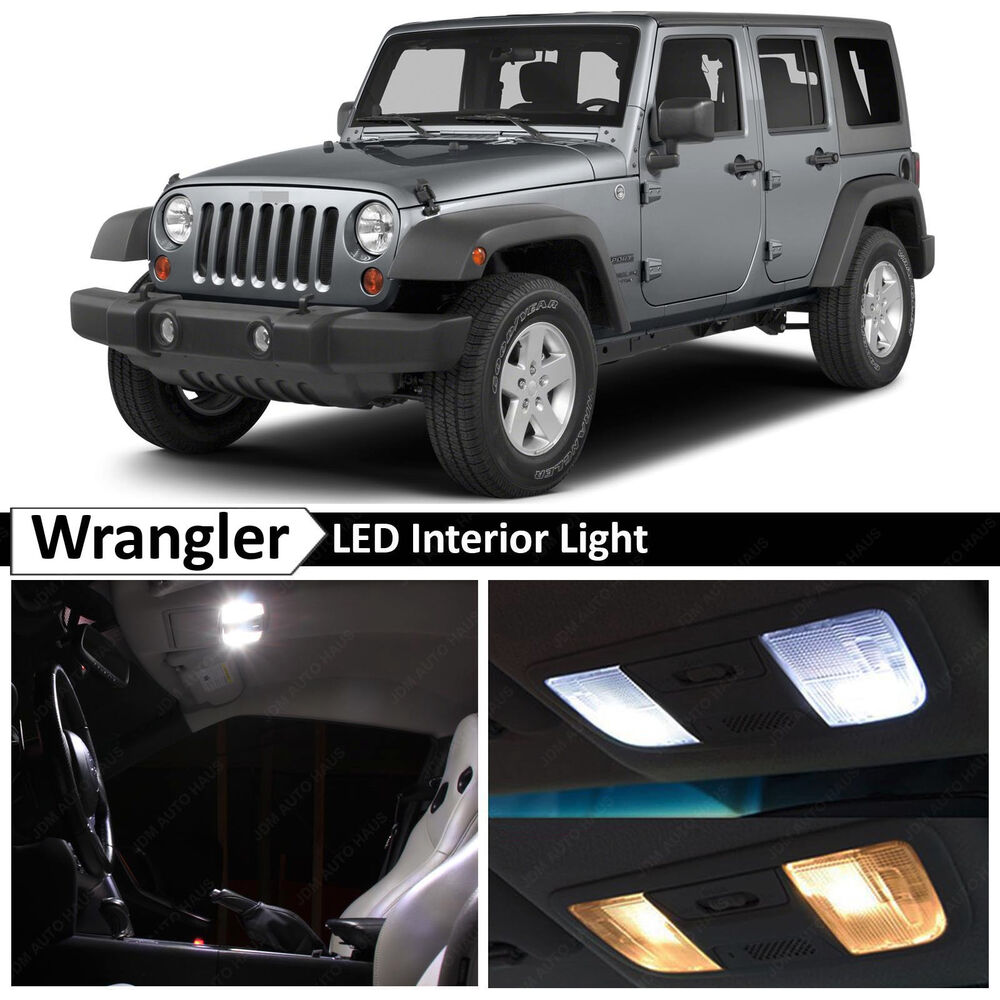 6x White Interior Led Lights Package Kit For 2007 2014 Jeep Wrangler Ebay