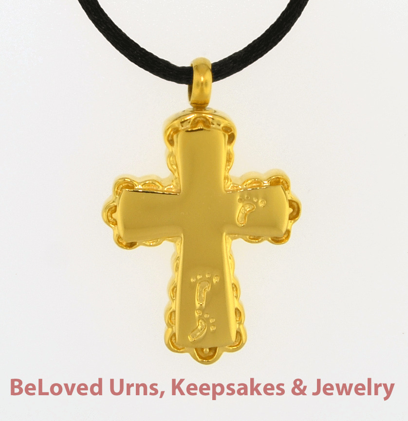 Gold Cross With Footprints Cremation Jewelry Pendant Urn