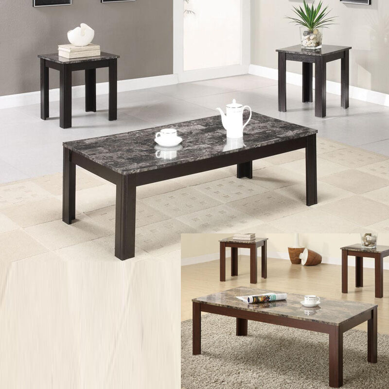 Marble Look 3 Pc Grey Brown Wooden Base Occasional Cocktail Coffee End Table Set Ebay
