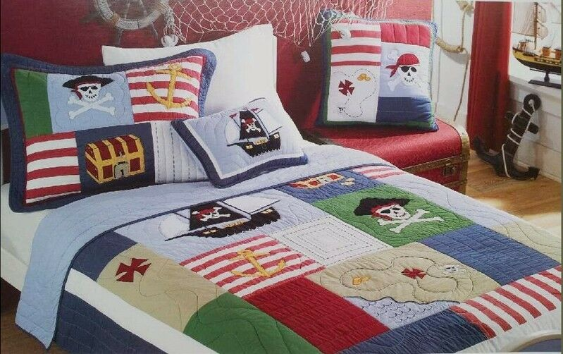 Twin Kids Pirate Of Caribbean Cotton Quilted Coverlet
