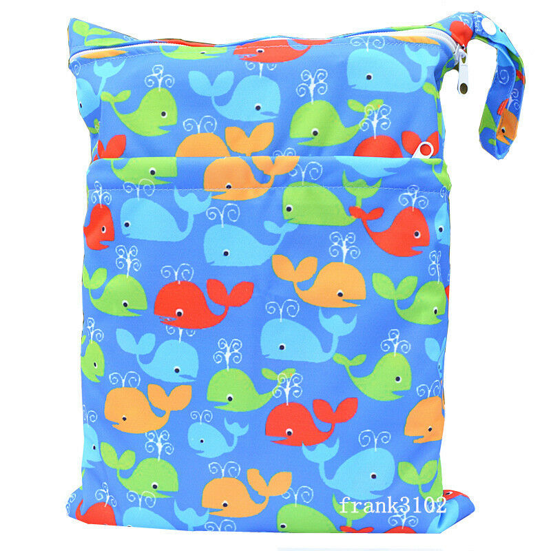 1 whale wet dry bag baby cloth diaper nappy bag reusable with two zipper pockets ebay. Black Bedroom Furniture Sets. Home Design Ideas