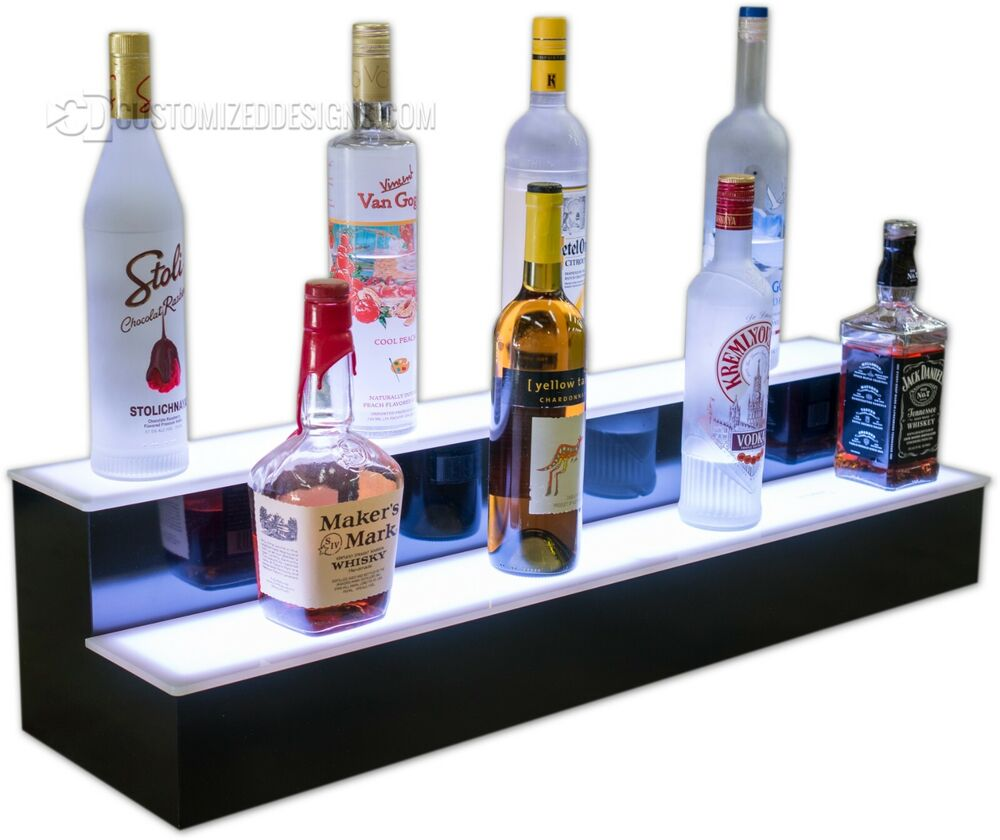 36 Quot 2 Step Tier Led Lighted Shelves Illuminated Liquor